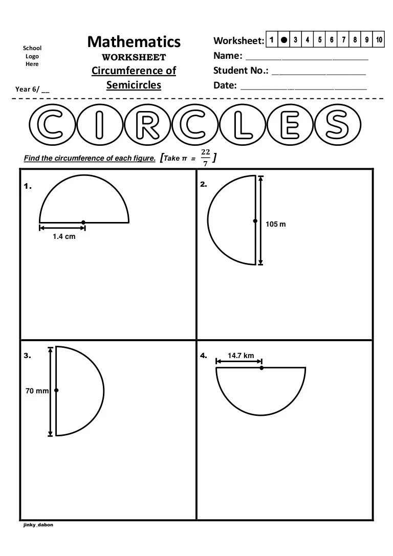 Year 6 – Circumference of Semicircles (Worksheet) [ 1087 x 768 Pixel ]