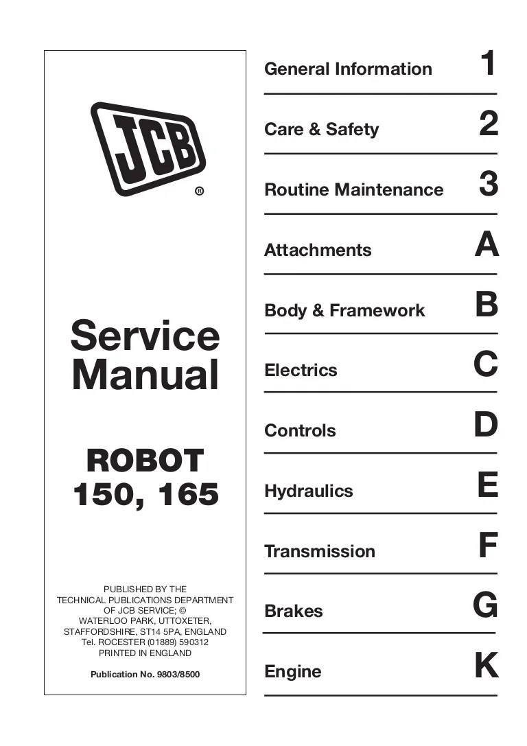 small resolution of jcb 165 165hf robot service repair manual sn678000 onwards jcb 165 wiring diagram