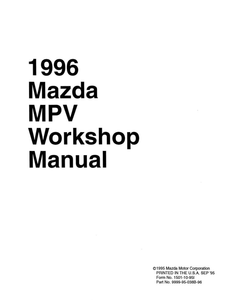 1996 Mazda Mpv Manual