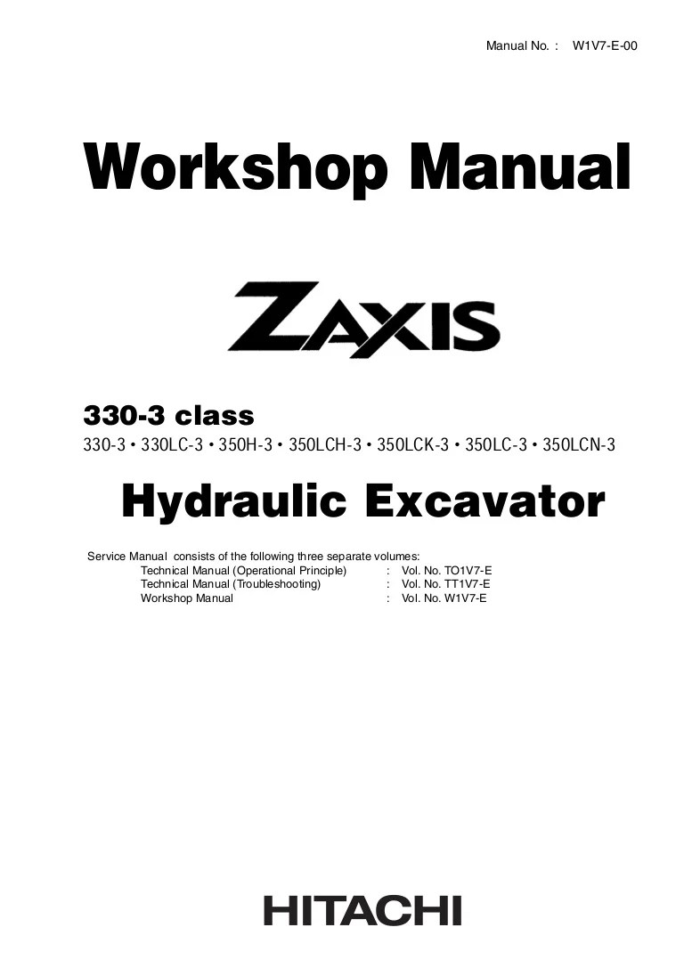 medium resolution of hitachi zaxis 350lc 3 excavator service repair manual