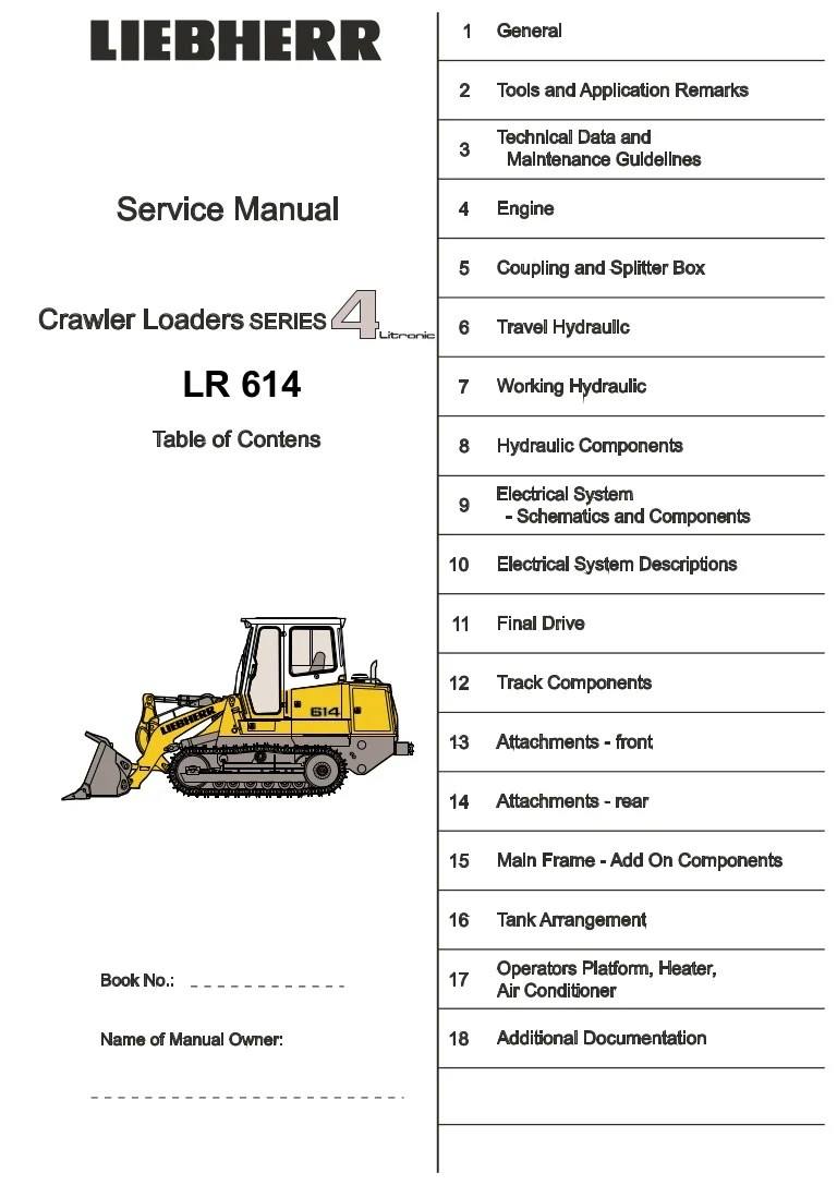 hight resolution of liebherr lr 614 lr614 crawler loader series 4 litronic service repair manual