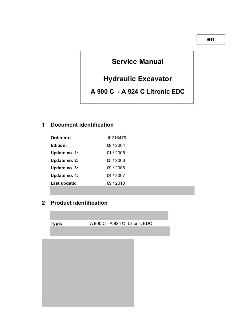 hight resolution of liebherr a 904 c litronic edc hydraulic excavator service repair manual sn 30580 and up