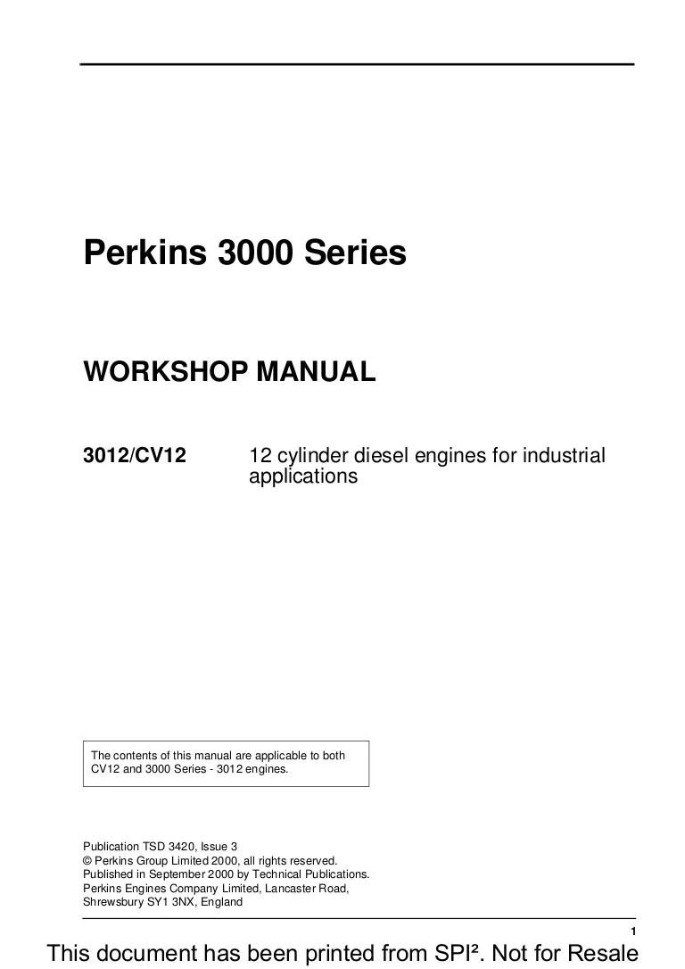 hight resolution of perkins 3000 series 3012 cv12 12 cylinder diesel engine service repair manual