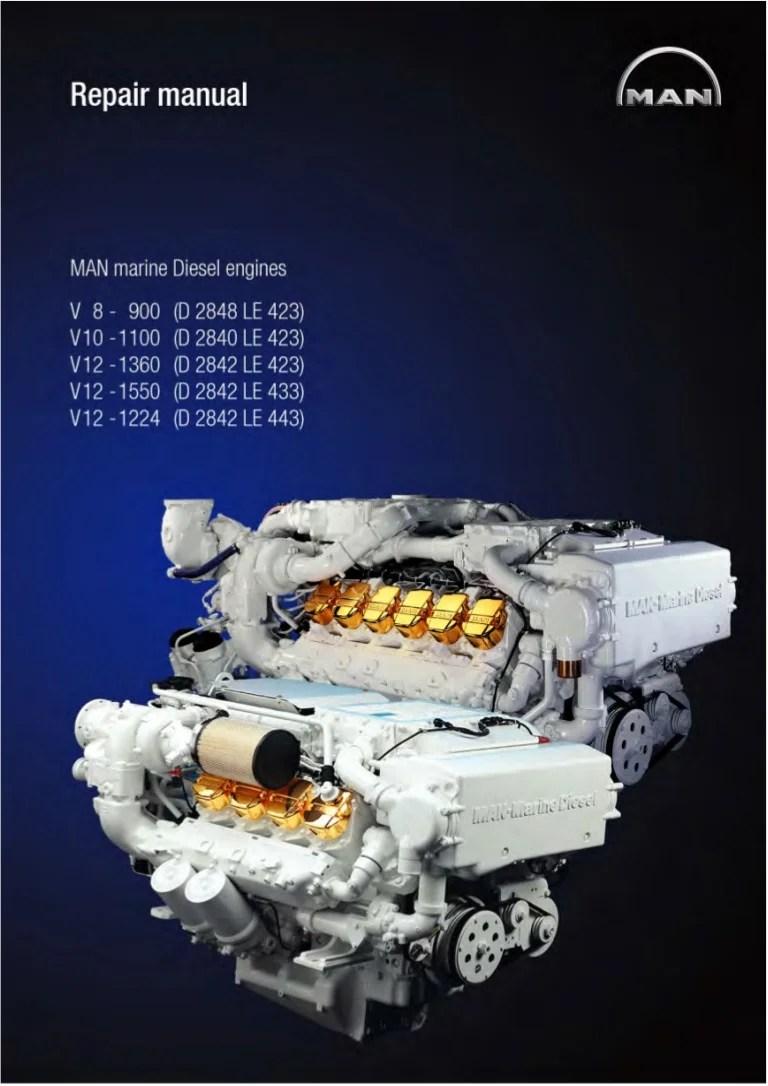 hight resolution of man marine diesel engine v12 1360 d 2842 le 423 service repair manual