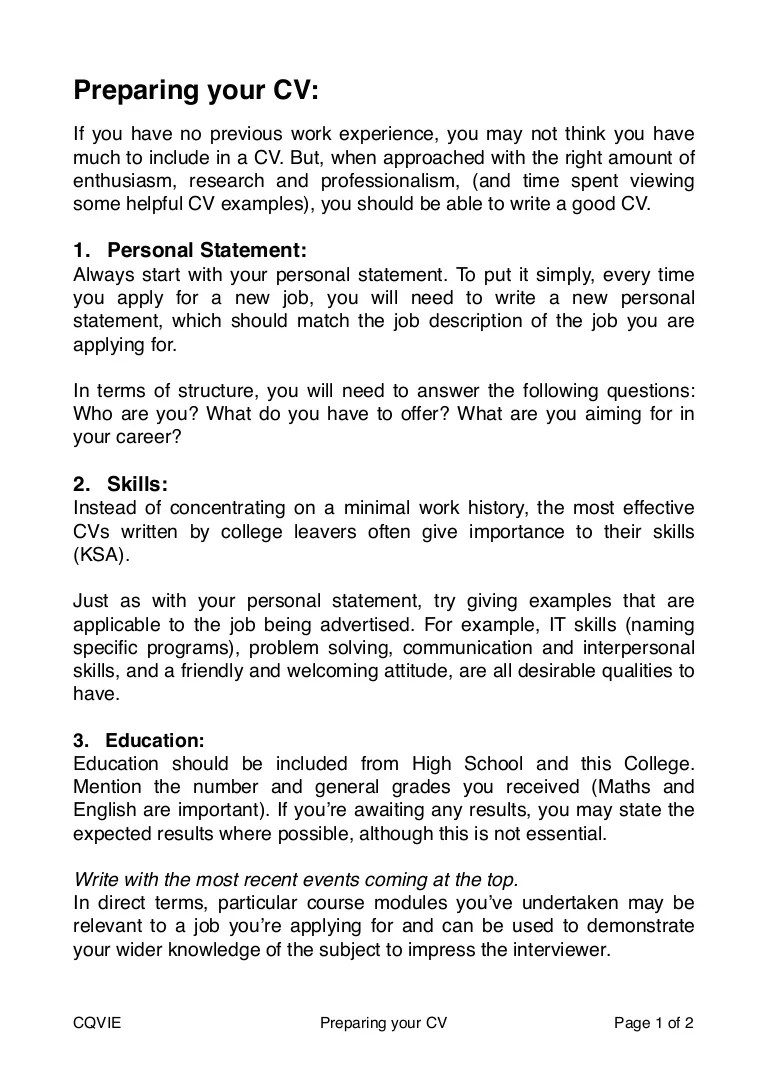 How To Prepare A CV