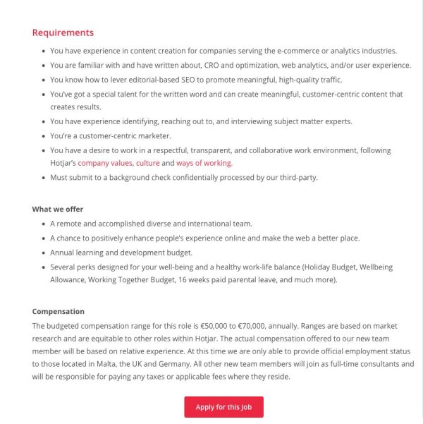 screenshot of a job posting for a content writer role with Hotjar.