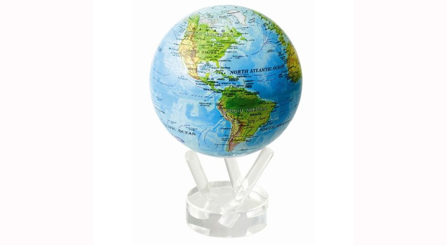 "Mova 4.5"" Blue with Relief Map Globe"