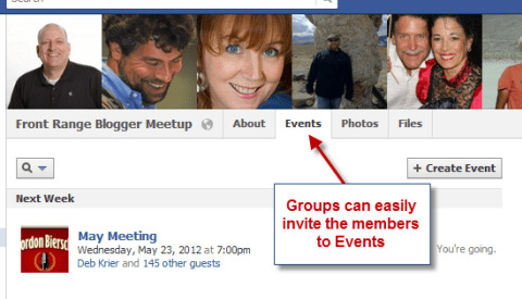 facebook group events