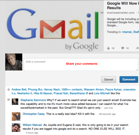 google mail search results