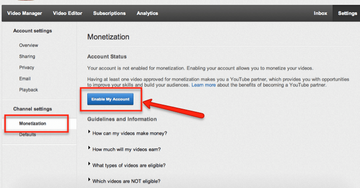 account settings monetization
