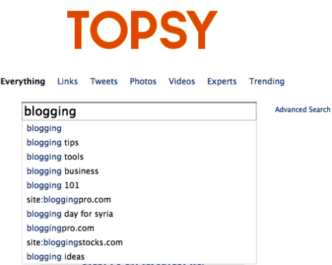 topsy search