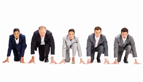 stock photo 16242591 businesspeople in racing starting positions