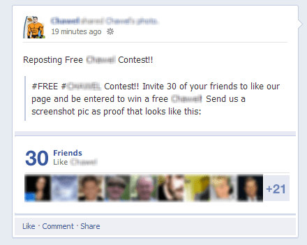 facebook contest violation