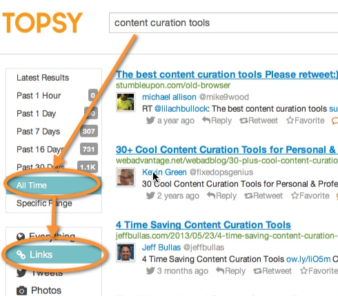 topsy keyword content search