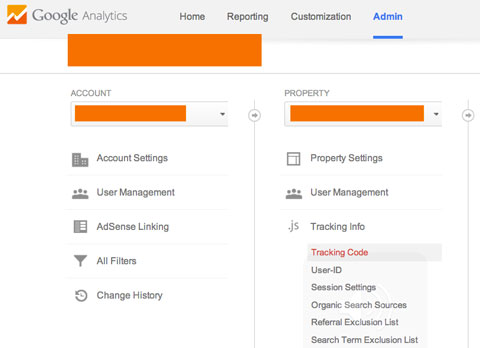 finding the tracking script in google analytics