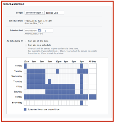 facebook ad scheduling options