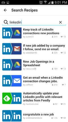 linkedin recipes in ifttt