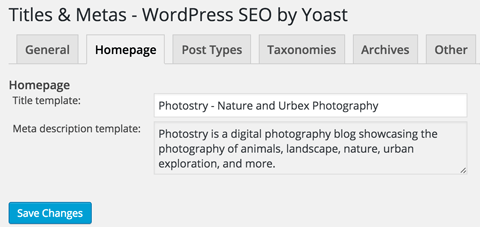 wordpress seo homepage title and meta