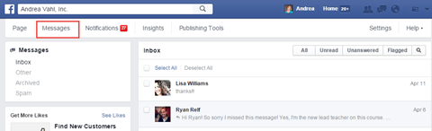 facebook messages tab