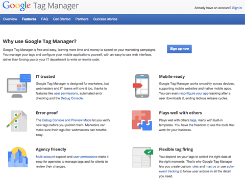 google tag manager features