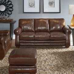 Lane Home Furnishings Leather Sofa And Loveseat From The Bowden Collection Brown With Blue Cushions 84 548 Sofas Sectionals