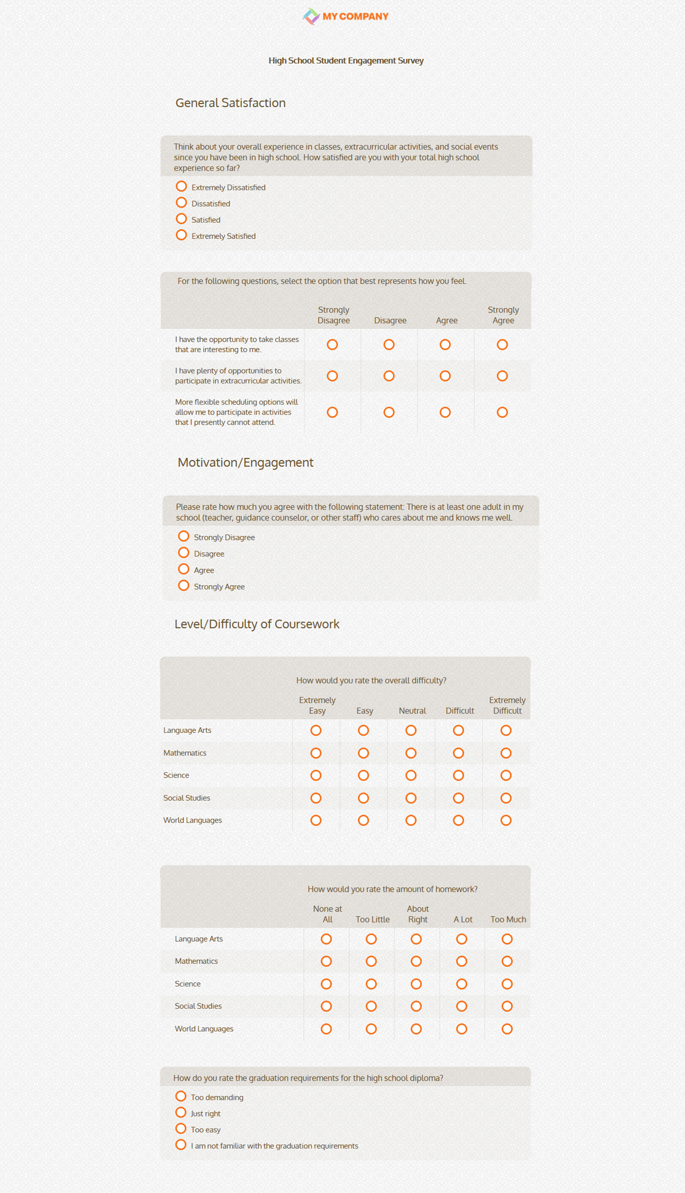 High School Student Engagement Survey Sample Template