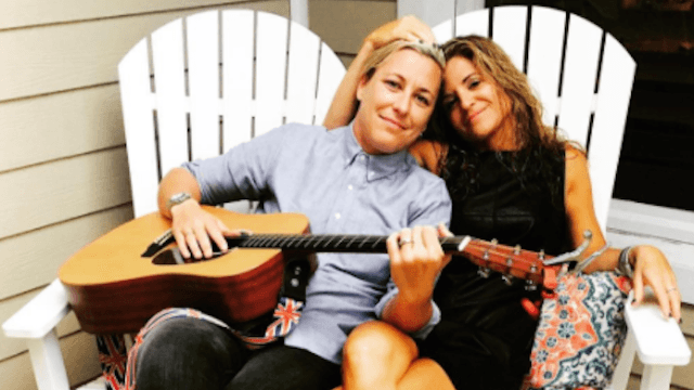 Abby Wambach and Glennon Doyle Melton. Probably practicing a lesbian recruitment song. By Melissa Ethridge.