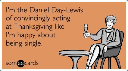 Daniel Day Lewis Single Thanksgiving Holidays Funny Ecard