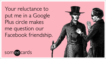 someecards.com - Your reluctance to put me in a Google Plus circle makes me question our Facebook friendship