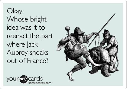 someecards.com - Okay. Whose bright idea was it to reenact the part where Jack Aubrey sneaks out of France?