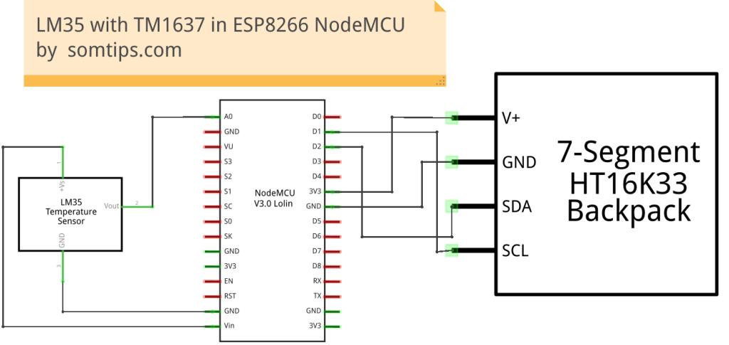 LM35 Sensor with TM1637 Display in ESP8266 NodeMCU