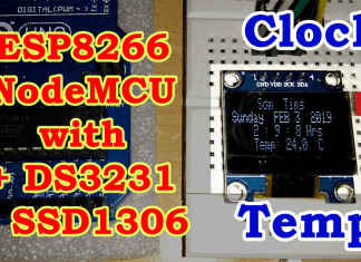 Clock with Temperature using DS3231 & SSD1306 in ESP8266