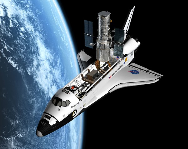 Artist' View Of Shuttle Servicing Mission Hst Esa Hubble