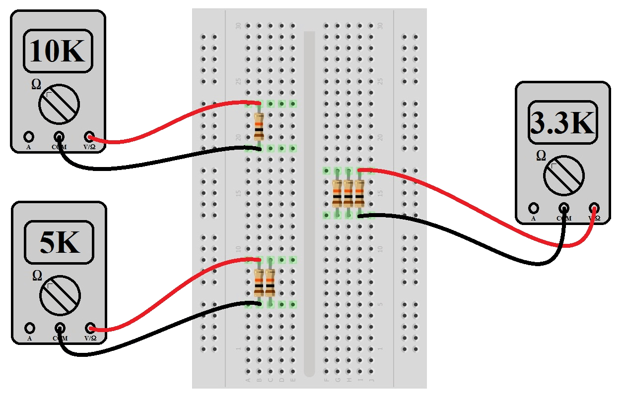 hight resolution of experiment measure parallel resistors with a multimeter