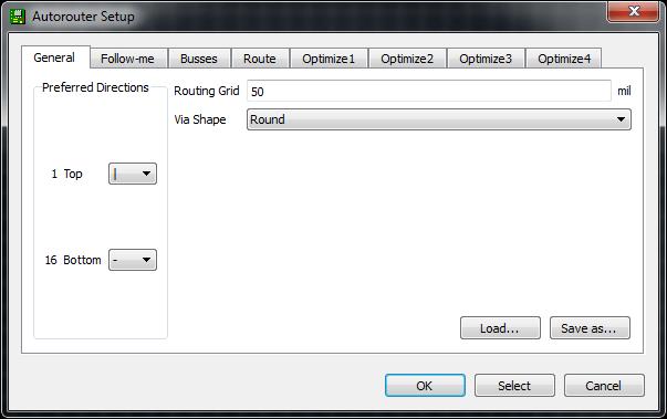 Autorouter window default