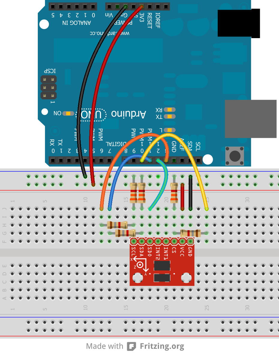 medium resolution of breadboard example of level shifting voltage dividers
