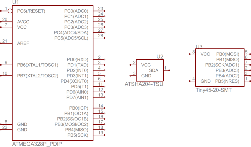 medium resolution of atmega328 atsha204 and attiny45 ic symbols schematic