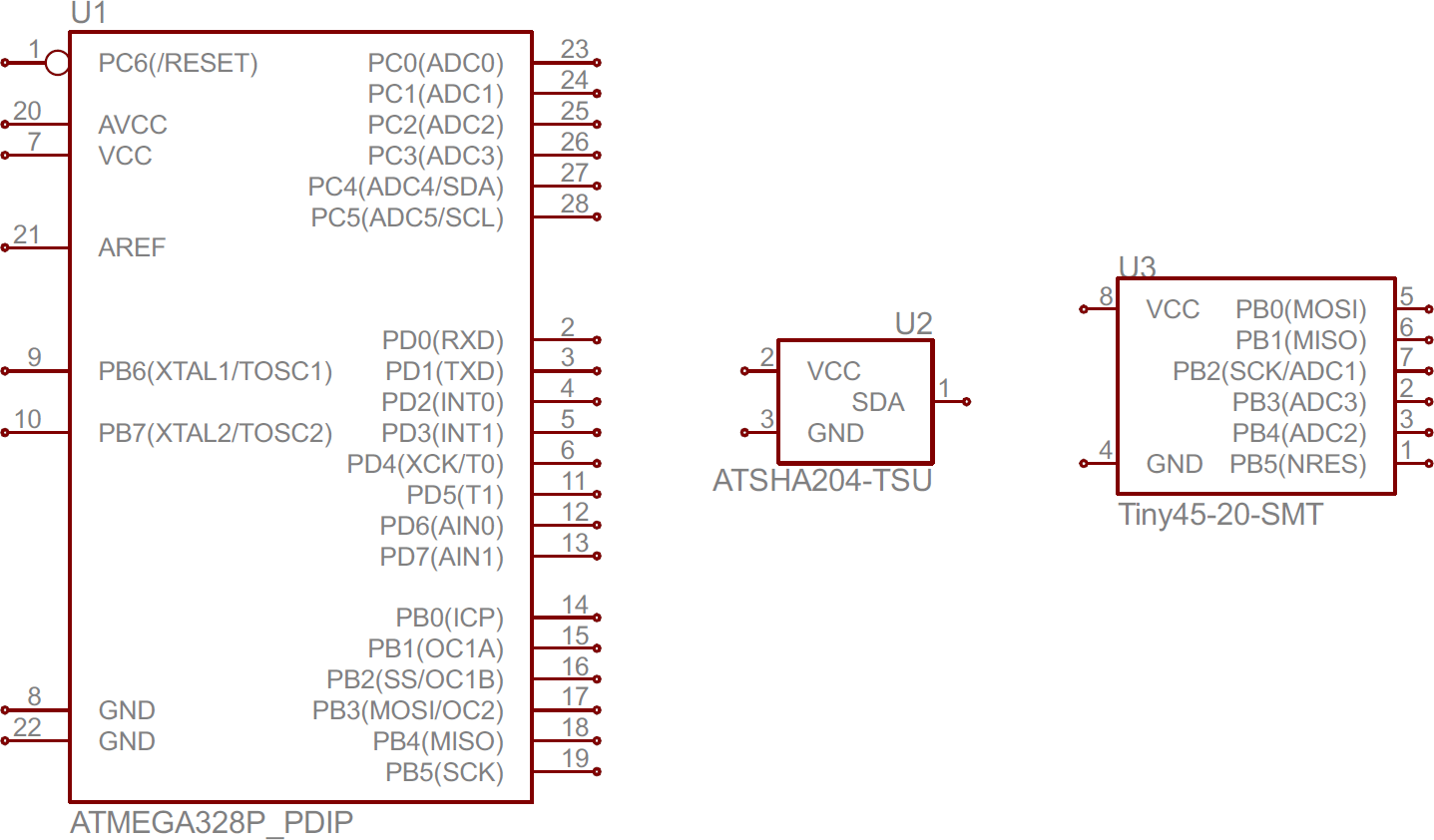 hight resolution of atmega328 atsha204 and attiny45 ic symbols