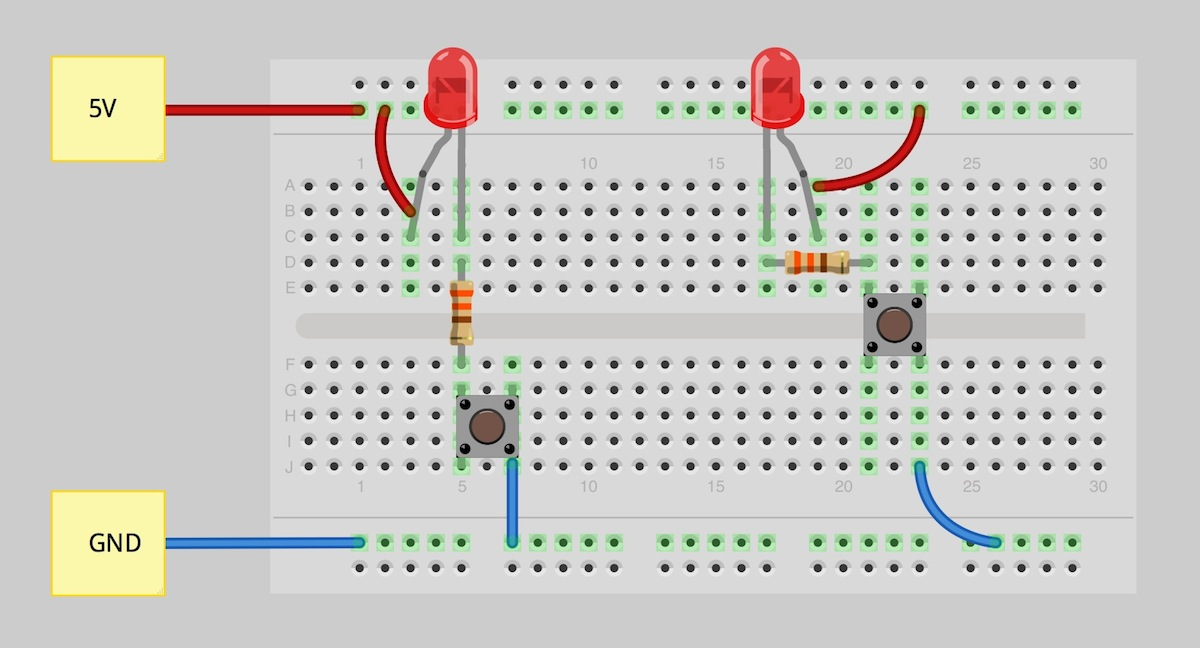 2 way intermediate lighting circuit wiring diagram 4 pin relay driving lights how to use a breadboard learn sparkfun com fritzing