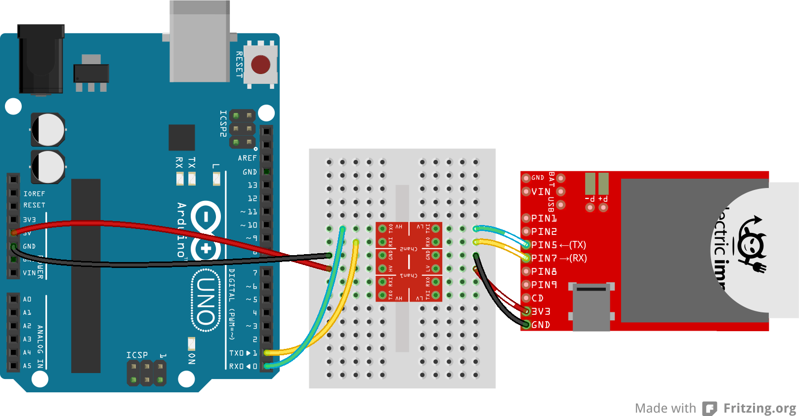 convert circuit diagram to breadboard 1987 bayliner capri wiring retired using the logic level converter learn sparkfun
