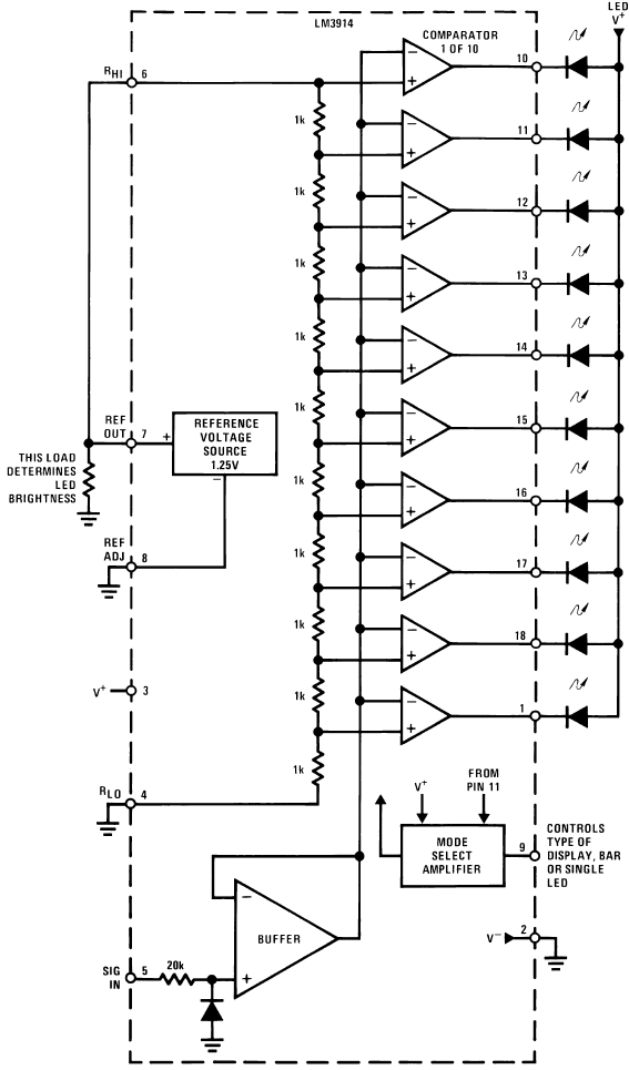 led lighting wiring diagram light wire dot bar display driver hookup guide learn sparkfun com lm3914 6 block