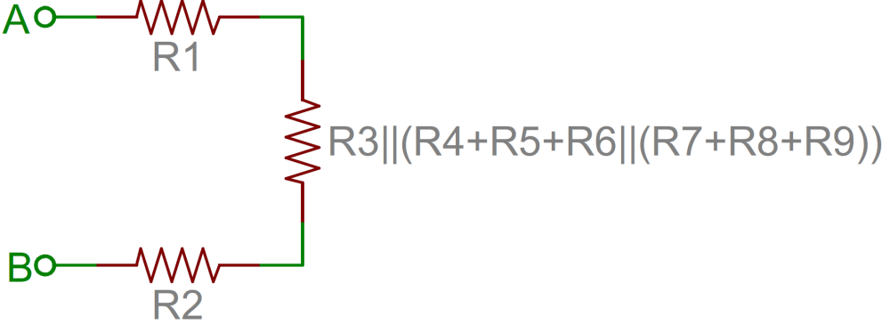 medium resolution of resistor network further simplified