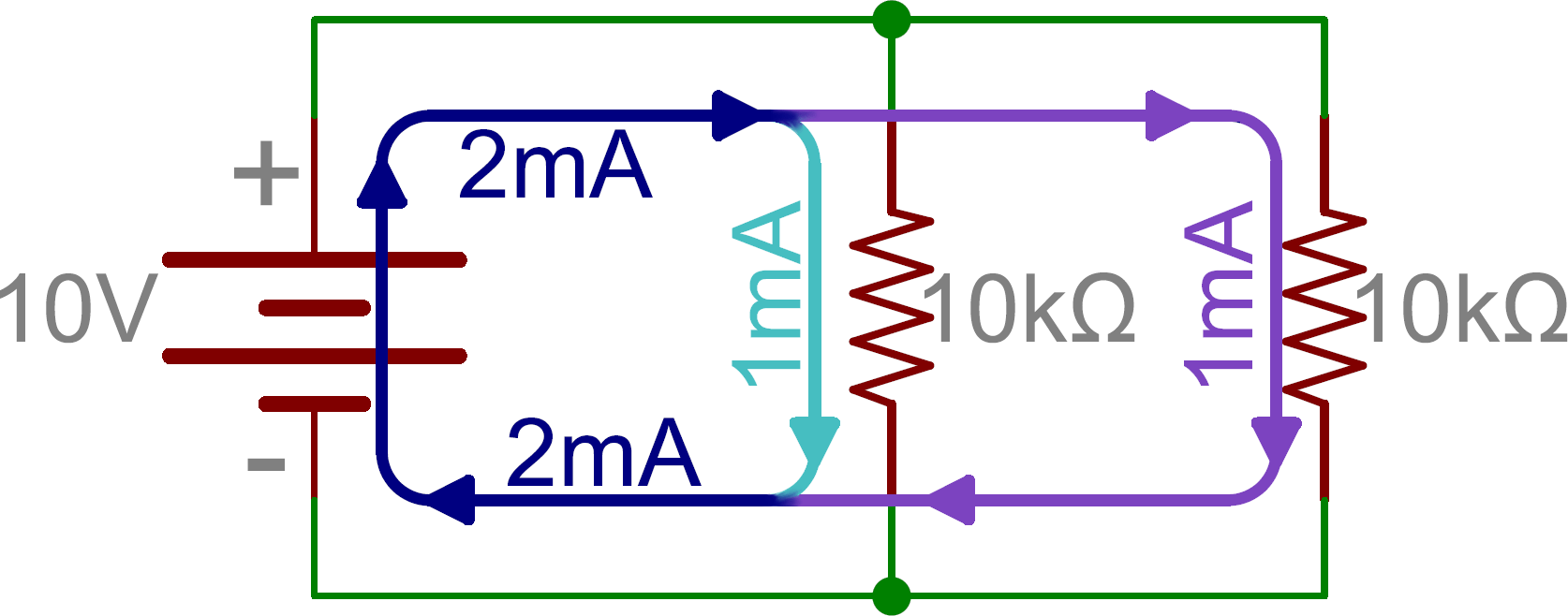 hight resolution of schematic two parallel resistors in parallel with a battery