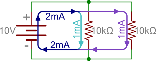 small resolution of schematic two parallel resistors in parallel with a battery