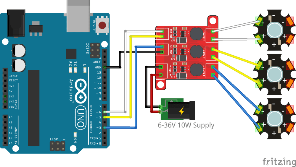 medium resolution of arduino connection with one led per channel