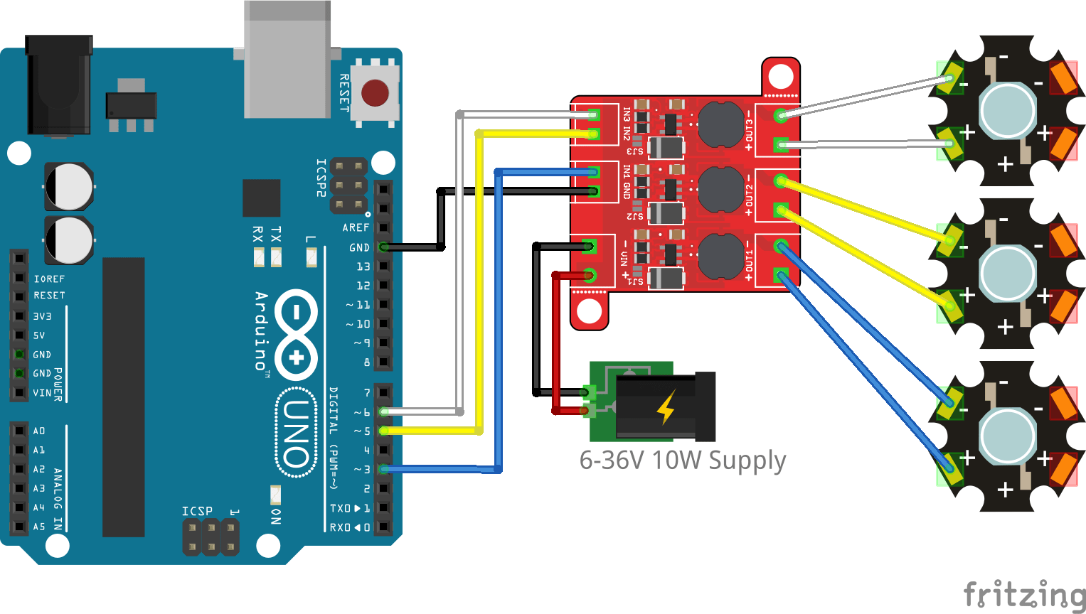 hight resolution of arduino connection with one led per channel