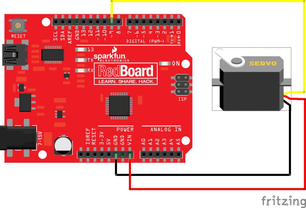 medium resolution of connecting a servo to a redboard