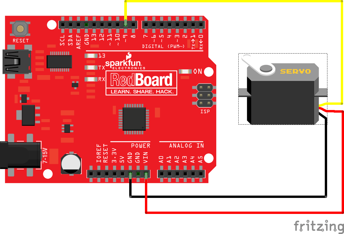 hight resolution of connecting a servo to a redboard