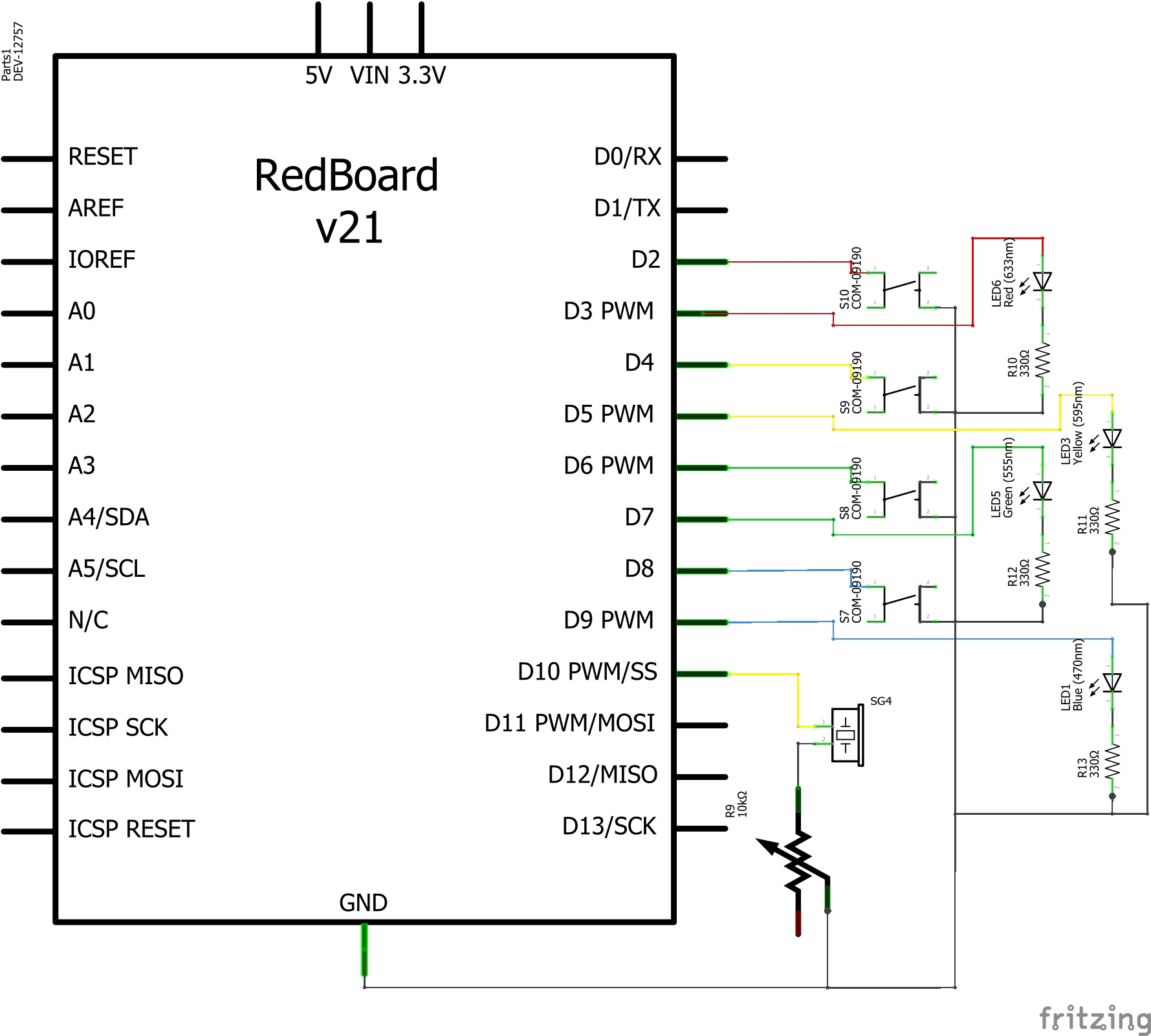 closer look at the circuit on the breadboard