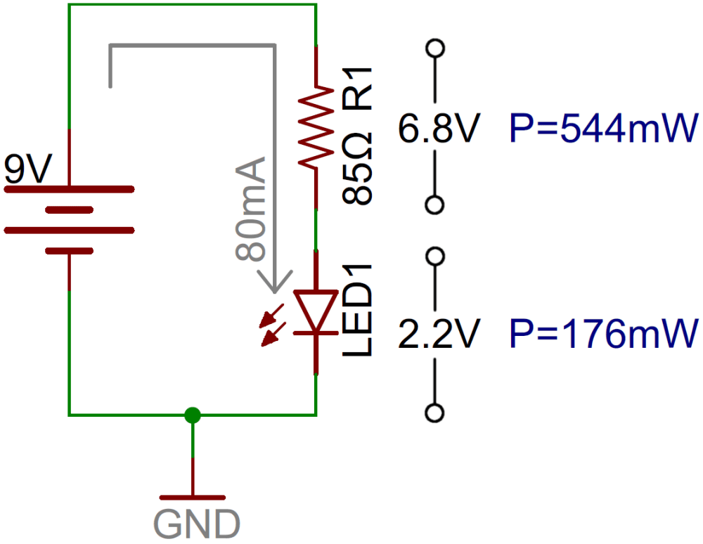 medium resolution of led circuit with current limiting resistor